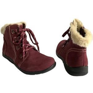 Earth Origins Leather Lace up Faux Fur lined Boots